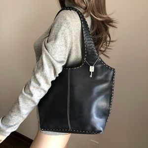 Fossil Black Leather Dual Handle Should Bag